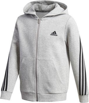 adidas 3-Stripes Doubleknit Full-Zip hettegenser junior Grå