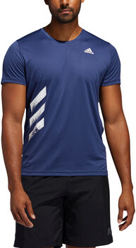 adidas Run It 3-Stripes teknisk t-skjorte herre Blå