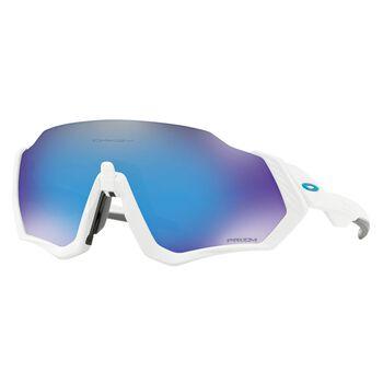 Oakley Flight Jacket Prizm™ Sapphire - Matte White sportsbriller Blå