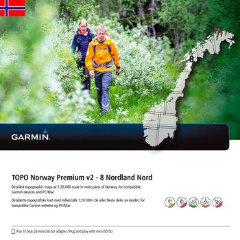Garmin Topo Premium 8 - Nordland Nord topografisk kartpakke Grønn
