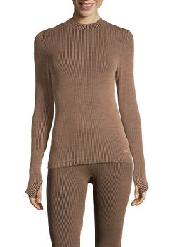 Casall Wool Rib Long Sleeve ulltrøye dame Brun
