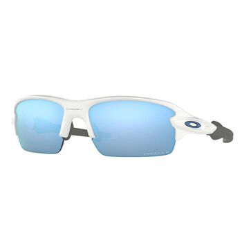 Oakley Flak XS Polished White - Prizm™ Deep Water Polarized sportsbrille junior Blå